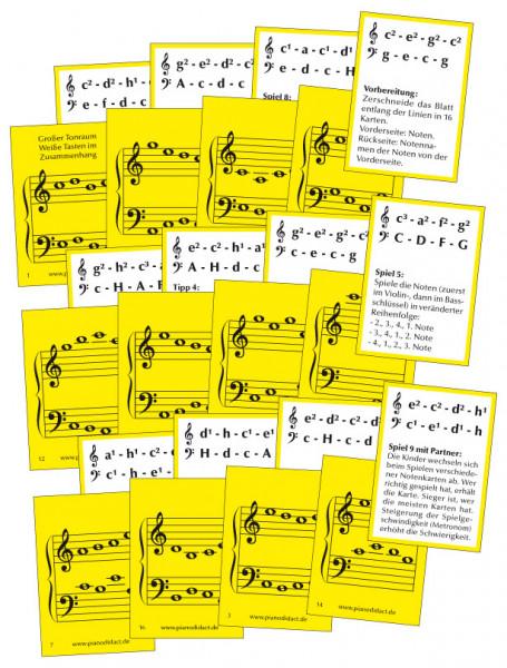 Notenkarten Nr. 3 - Gr. Tonraum. Weiße Tasten im Zusammenhang