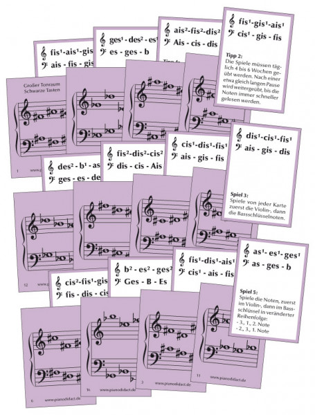 Notenkarten Nr. 6 - Gr. Tonraum. Schwarze Tasten