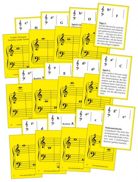 Notenkarten Nr. 4 - Gr. Tonraum. Einzelne weiße Tasten