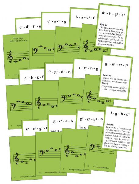 Notenkarten Nr. 1 - Enge Lage. Jede Hand einzeln